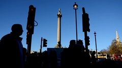 London. Trafalgar Square Time lapse. Charing Cross. Nelson's Column Stock Footage