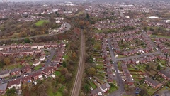 Panning aerial view of a housing estate in Blackheath. Stock Footage