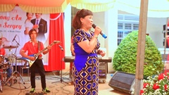 Guest Woman Sings on Stage at Wedding Party in Restaurant Stock Footage