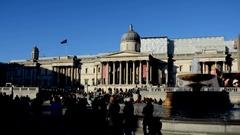 London. National Gallery. Trafalgar Square Stock Footage