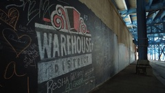 CLEVE MURAL WAREHOUSE DISTRICT Stock Footage