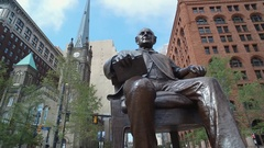 CLEVE MAN CHAIR STATUE Stock Footage