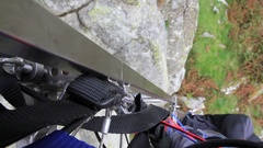 Mountain rescue viewed from side of stretcher Stock Footage