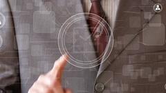 Businessman hand press button clock time web Stock Footage