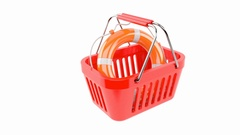 Shopping basket with life buoy on white background Stock Footage