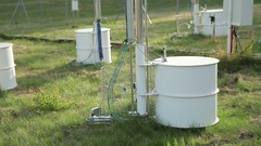 Probe soil, research station for studying alpine mountains meadows and a weather Stock Footage