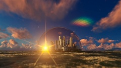 Modern city in a glass dome on ocean, sunrise Stock Footage
