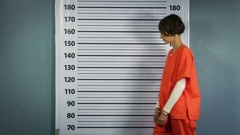 Arrested woman posing in an orange suit for a mugshot Stock Footage