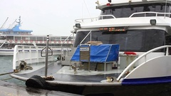 Istanbul ferry in harbor on a snowy winter day Stock Footage