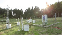 Scientist, research station for studying alpine mountains meadows and a weather Stock Footage