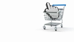 Shopping cart with web cursor Stock Footage