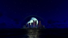 Modern city in a glass dome on ocean with moon behind Stock Footage