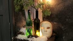 Christmas decor. Face mask. Stock Footage