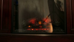 Electric fire background. Glow from an electric fireplace. Close-up. Stock Footage