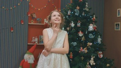 Girl gives the present for her friend on Christmas, surprise, New Year Stock Footage