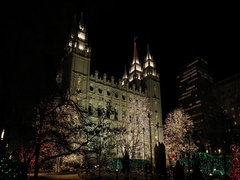 LDS Temple Square Christmas lights night DCI 4K Stock Footage