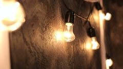 A row of light bulbs in Christmas decor. Group of Light bulb. Stock Footage