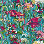 Cartoon hand-drawn doodles on the subject of under water life theme seamless Piirros