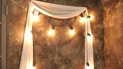 A row of light bulbs in Christmas decor. Group of Light bulb. Lighting Decor. Stock Footage