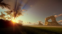Tropical island with palm trees and rocks in ocean at sunrise Stock Footage