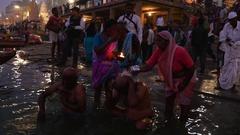 Ganges River, Varanasi, India Stock Footage