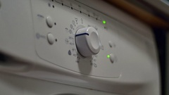 Hand Programing The Washing Machine, Detail, Household Appliance Stock Footage