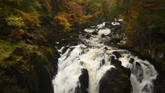Falls of Braan, Perthshire, Scotland. Stock Footage