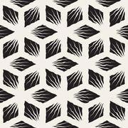 Vector Seamless Hand Painted Geometric SunBurst Lines Rhombic Pattern Stock Illustration