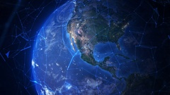 Connected Earth. Travel from Los Angeles to the space. Stock Footage