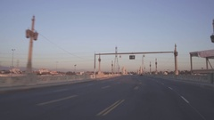 Driving Eastbound Across The Fourth Street Bridge In Downtown Los Angeles Stock Footage