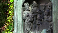 Bas-relief of the king and his subjects in Stockholm. Sweden. 4K. Stock Footage