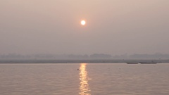 Sunrise in Ganges River, Varanasi, India Arkistovideo