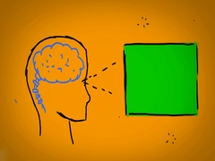 Brain - Hand Drawn - Caucasian Hand - green screen - yellow Stock Footage