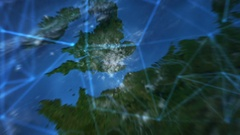 Travel to Earth.  Futuristic world network. London. Stock Footage