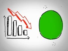 Chart Failure - Hand Drawn - Caucasian Hand - green screen Stock Footage