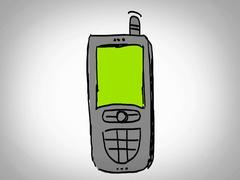 Phone  - Hand Drawn - Caucasian Hand - green screen - white Stock Footage
