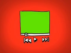 Video Player  - Hand Drawn - Caucasian Hand - green screen - red Stock Footage