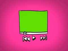 Video Player  - Hand Drawn - Caucasian Hand - green screen - pink Stock Footage
