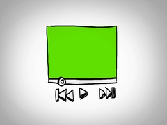 Video Player  - Hand Drawn - Caucasian Hand - green screen - white Stock Footage