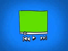 Video Player  - Hand Drawn - Caucasian Hand - green screen - blue Stock Footage