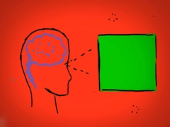 Brain - Hand Drawn - Caucasian Hand - green screen - red Stock Footage