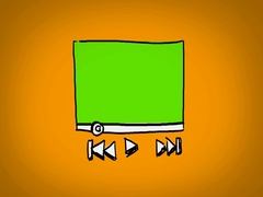 Video Player  - Hand Drawn - Caucasian Hand - green screen - yellow Stock Footage