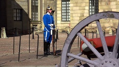 Honor guard at the Royal Palace in Stockholm. Sweden. 4K. Stock Footage