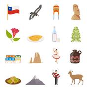 Chile Flat Colored Icons Stock Illustration
