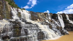 Pongour waterfall in Dalat Vietnam. Scenic mountain with fall Stock Footage