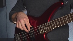 Closeup guitarist in pop band Stock Footage