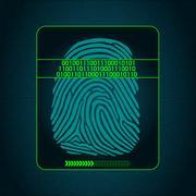Fingerprint scanning - digital security system, biometric, access Stock Illustration