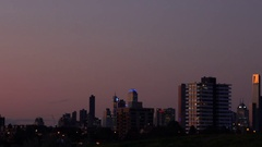 Melbourne, St Kilda Beach: Skyline View Stock Footage