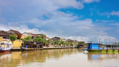 Old town with Thu Bon river in Hoi An city in Vietnam, Heritage sit Stock Footage