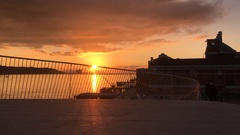 Tagus River Beautiful Sunset, View From Top of MAAT Museum In Lisbon, Portugal Stock Footage